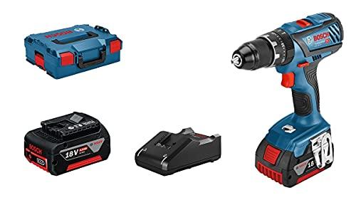 Bosch 18V System GSB 18V-28 - Taladro Percutor a Batería, 63 Nm, 1900 Rpm, 2 Baterías x 4.0 Ah, en L-BOXX