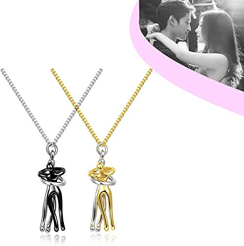 Couple Hugging Pendant Necklace, Metal Plating Hug Necklace Couple,Couple Necklaces His and Hers Hugging Pendant,Fashion Couple Necklace Love Witness Jewelry (Gold+Gold)