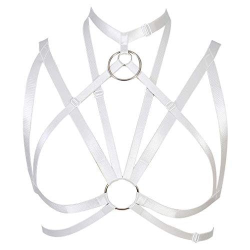 Strap Body Harness Bra Tops Cage Punk Gothic Rave Lingerie Hollow Out Chest Belt Plus Size (White)