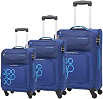 Kamiliant Koti Set of 3, Soft Luggage Trolley Bags With TSA Lock, 55+66+76cm, Blue