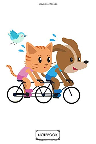 Tandem Bike Cat Dog Notebook: Journal, Diary, Matte Finish Cover, Lined College Ruled Paper, Planner, 6x9 120 Pages