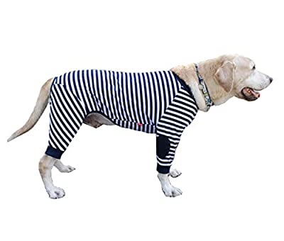 Large Dog Clothes,Dog Pajamas Flexible Breathable Zipper Soft Cotton Striped Dog Jumpsuit Costume Apparel for Medium Dogs Large Dogs (8-Back length-60cm, Navy Blue)