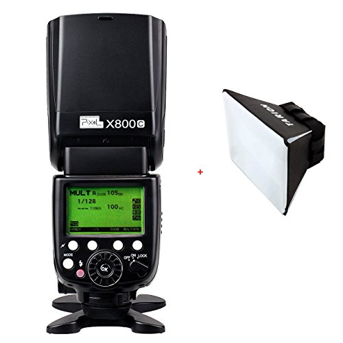 Pixel X800C ETTL Speedlite Blitzgerät GN60 FSK 2.4GHz für Canon 5D II/ 5D III/ 7D/ 6D/ 70D/ 60D/ 50D/ 40D/ 30D/ 700D/ 650D/ 500D/ 450D/ 1000D/ 1100D etc.+ TARION Blitzdiffusor