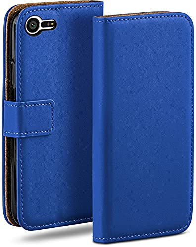 moex Klapphülle kompatibel mit Sony Xperia X Compact Hülle klappbar, Handyhülle mit Kartenfach, 360 Grad Flip Hülle, Vegan Leder Handytasche, Blau