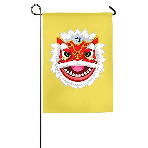 YATELI Pingshoes Resistencia al Desgaste Danza del león Temporada China Patio Patio Casa Jardín Banderas 12x18 Pulgadas Banderas de Fibra de poliéster Semitransparente