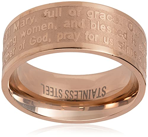 Steeltime 18k Gold Plated Hail Mary Prayer Ring, Size 7