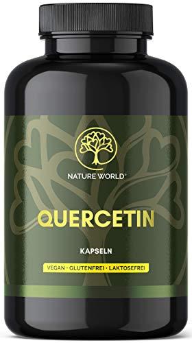 NEU! NATURE WORLD Quercetin hochdosiert Kapseln 180 Kapseln mit je 500mg - reiner japanischer Schnurbaum Blütenextrakt - Vegan - Deutsche Produktion - TOP Rohstoff: - Laborgeprüft ohne Zusätze
