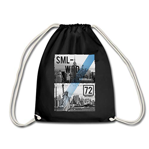 Spreadshirt Smiley World New York City Skyline Freiheitsstatue Turnbeutel, Schwarz