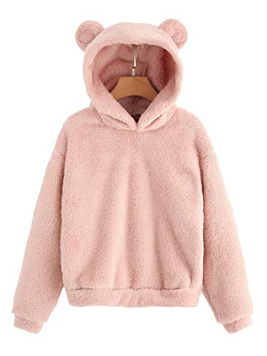 SheIn Women's Casual Cute Teddy Long Sleeve Sweatshirt Fleece Pullover Hoodie Pink