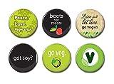 Insignias de botón de 6-25 mm, set de 6 insignias vegetarianas, insignias de botón, regalo vegano, insignia de botón, imanes de nevera, insignias vegetarianas, insignias de botón de atrás, 14 unidades