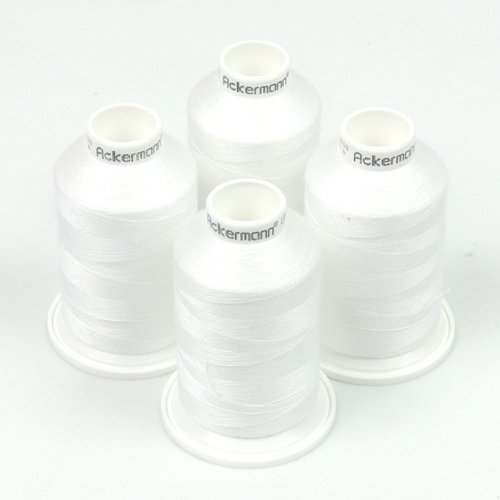 Ackermann 4X 1.000m UNIVERSAL NÄHGARN, Stärke 120, Qualitätsgarn, Overlock Garn, Garn für Overlock-Nähmaschinen (0700 Weiß)