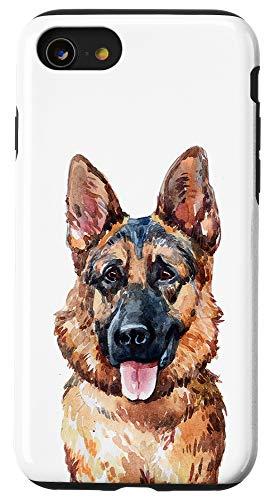 iPhone SE (2020) / 7 / 8 German Shepherd Dog Portrait Art Watercolor GSD Mom Dad Gift Case