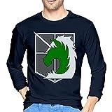 Attack Animetitan - Camiseta de manga larga para hombre, estilo informal, 100% algodón, cuello redondo, manga larga, cómoda, azul marino, XL