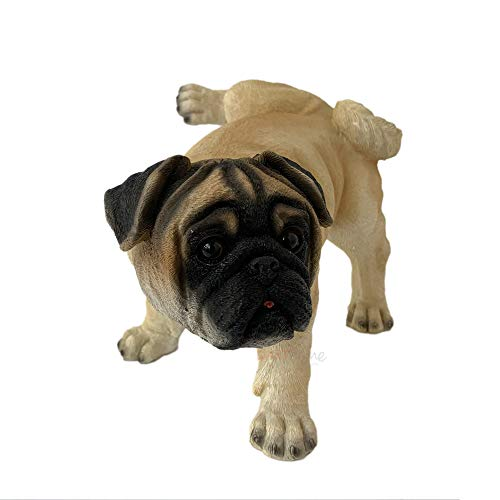 Cocking Leg Cream Short Nosed Pug Puppy Dog Home Garden Statue Ornament Large