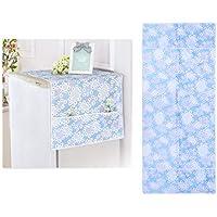 VOSAREA Cubierta para Refrigerador Cubierta Refrigerador Usos Múltiples Cubierta Superior Impermeable Resistencia Aceite Cubierta Prueba Polvo con Bolsa Almacenamiento Lateral (Azul) - 70 * 170CM