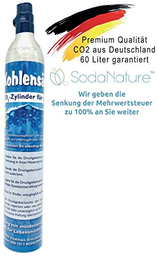 SodaNature™ | Premium CO2 Zylinder für SodaStream (z.B. Crystal, Easy, Power) | Natürliche Kohlensäure für 60L | Neu & Erstbefüllt in Deutschland [425g]