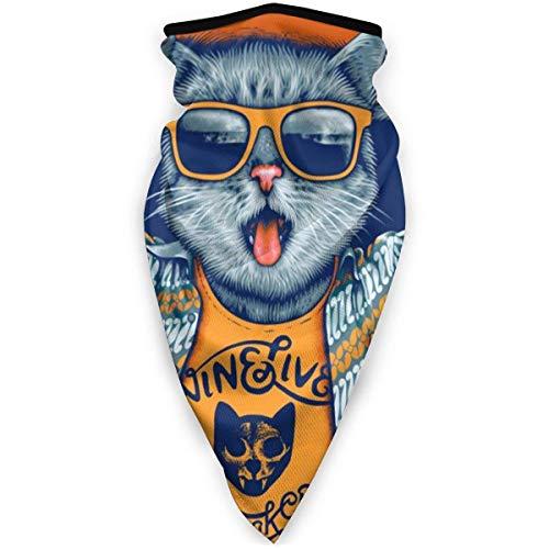 Double Cheese Rap Cool Boy Cat Sonnenbrille Kunst Adult Hals Winddichte Maske Staub Sport Gesichtsmaske Halbe Sturmhaube Skimaske Kaltes Wetter Bandana Frauen Männer im Freien