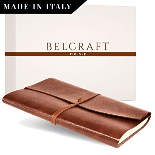 Tivoli A4 großes Notizbuch aus recyceltem Leder, Handgearbeitet in klassischem Italienischem Stil, Geschenkschachtel inklusive, Gästebuch, Tagebuch A4 (21x30 cm) Hellbraun