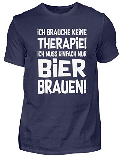 Braumeister: Therapie? Lieber Bier brauen! - Herren Shirt -S-Dunkel-Blau