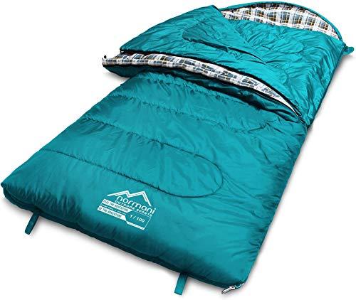 normani 4-in-1-Funktion Extrem Outdoor Schlafsack 'Antarctica' aus Nylon Rip-Stop mit 500 + 250 g/m² Hollow Fiber Füllung 220 x 90 cm Farbe Limited Petrol Größe Links