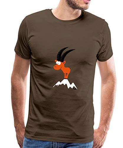 Steinbock Berggipfel Alpen Bergland Männer Premium T-Shirt, XL, Edelbraun