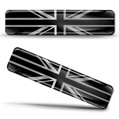 Biomar Labs 2 x 3D Domed Silicone Silver Stickers Decals England UK Union Jack National United Kingdom Great Britain Flag Car Motorcycle Helmet F 127