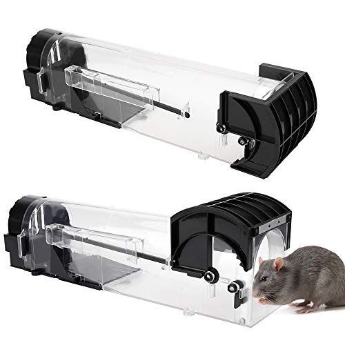 Eyscoco Mausefalle Lebend,2 Stück Mausefalle Rattenfalle Schlagfalle Lebendfalle Wiederverwendbare,No-Kill-Maus, Haustiere und Kinderfreundlich,Professionell Kastenfalle für Küche Garten