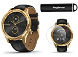Garmin vivomove Luxe (Black Embossed/24K Gold) Power Bundle | +HD Screen Protectors & PlayBetter Portable Charger | Elegant & Sophisticated | Stylish Hybrid Smartwatch