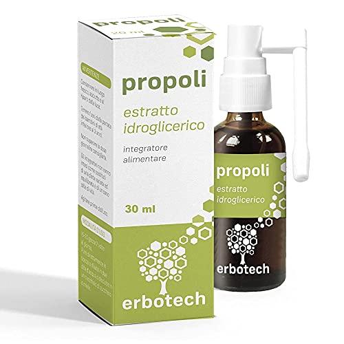 ERBOTECH Propolis Spray 30 ml, Urtinktur, reiner Extrakt, geeignet für KINDER, natürliches Heilmittel gegen Halsschmerzen und Husten, trägt zum Wohlbefinden der Atemwege bei, Made in Italy