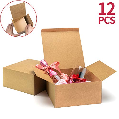 ValBox Premium Gift Boxes 12 Pack 8 x 8 x 4' Brown Paper Gift Boxes with Lids for Gifts, Crafting Cupcake Boxes, Easy Assemble Bridesmaids Proposal Boxes