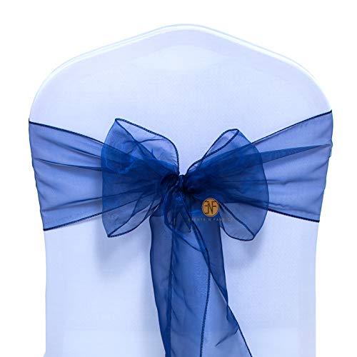 Paquete de 25 Silla Organza Completo Lazo Bandas - Semi-Transparente Tela Cubiertas con Minimal Shee
