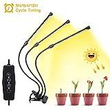 Grow Light - Lámpara led para crecimiento de plantas (espectro completo, 30 W, cabezal triple)