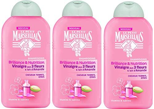 Le Petit Marseillais Shampoo für dickes Haar, Essig, 3 Blumen & Mandelmilch, Flasche 250 ml, 3 Stück