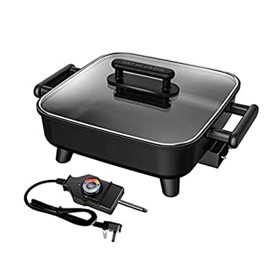 MDEOH Electric Wok Adjustable Thermostat with Indicator Light, Detachable Power Cable 6L, 1500W, Black with Tempered Glass Lid Easy Clean Coating
