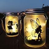 Lanterne Solari da esterno, Il Fata Farfalla Nella Barattolo di vetro - 2 Pezzi IP44 Impermeabile Luci Solari Giardino per da Prato Natale Feste Decorazioni
