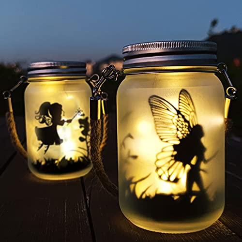 Linterna Solar Jardin, Hada Mariposa En Tarro De Masón - Mostof IP44 Impermeable Hangrui LED Luz Solar Lámpara para Césped Patio al Aire Libre Partido Navidad (Blanco cálido)