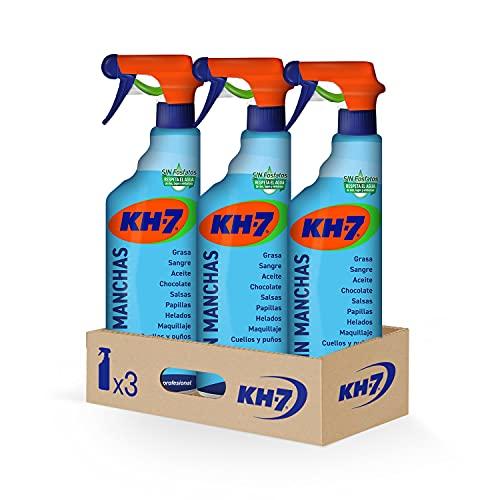 KH-7 Sin Manchas - Máxima Eficacia, Elimina sin Esfuerzo las Manchas más Difíciles, Fórmula sin Lejía, Respeta los Tejidos y los Colores - Pack de 3 Unidades x 750 ml
