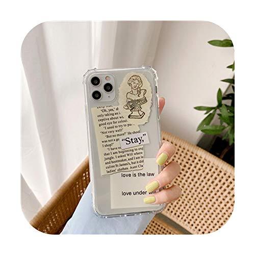 Fashion Art - Carcasa para iPhone 12 11 Pro XS Max SE 2020 XR X 7 8 Plus a prueba de golpes de silicona transparente estilo 1 para iPhone 12