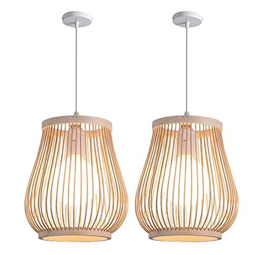 Fenteer 2x Lámpara Colgante Retro de Una Sola Luz, Pantalla de Ratán de Bambú Natural, Lámpara de Bambú para Pasillo, Lámpara de Techo, Lámpara Colgante, Iluminación Colgante para Salón de Té