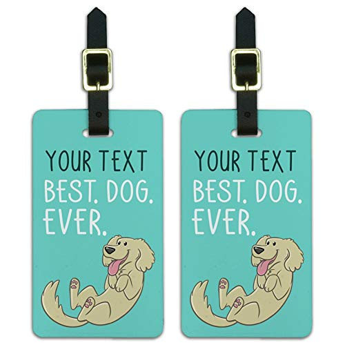 Personalized 1 Line Best Dog Ever Luggage ID Tags Cards Set of 2