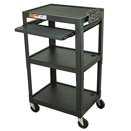 Metal Frame AV Cart with Keyboard Tray - Presentation Cart with Wheels for Printer, Projector, TV, Document Camera, and Laptop (3 Shelf with Keyboard Tray (AV-J))