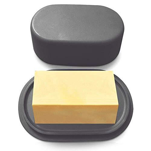 Grand beurrier bambou gris foncé moderne avec couvercle anti-odeur | Passe au lave-vaisselle et au micro-ondes | Dimensions parfaites pour un rangement au frigo d'une plaquette de 250 G de beurre