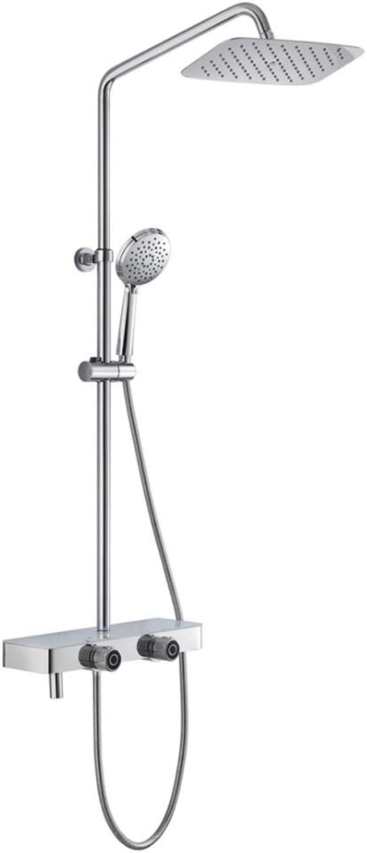 ZHBH Duschsystem mit Regendusche Duschset Duschsule Dusche Duscharmatur Shower inkl. Verstellbar Duschstange Kopfbrause Handbrause Duschkopf für Badezimmer Kupfer Dusche