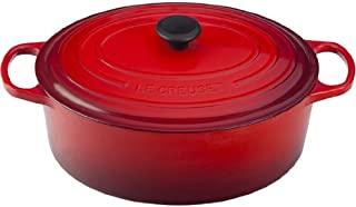 Le Creuset Signature Enameled Cast-Iron 9.5 Quart Oval French (Dutch) Oven, Cerise (Cherry Red)