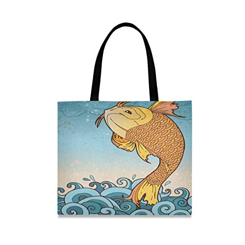 Mnsruu Bolsa de la compra Koi Fish reutilizable bolsa de lona bolsa...