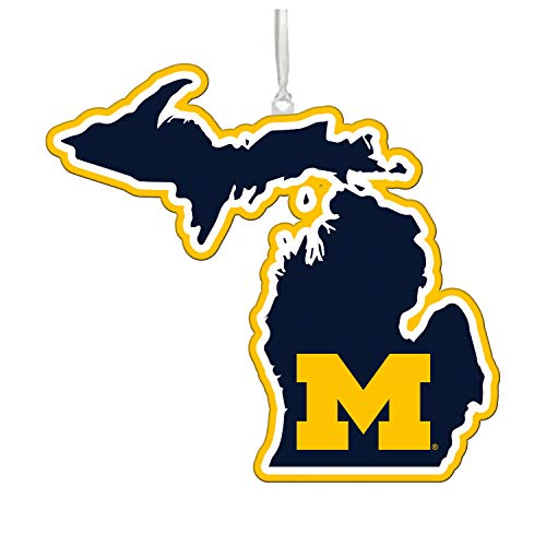 Team Sports America NCAA University of Michigan Festive State Shaped Christmas Ornament - 5' Long x 5' Wide x 0.2' High