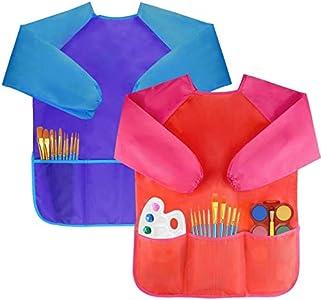 Amaza 2Pcs Delantal Infantil Pintura para 2-8 Años (Azul & Rojo)
