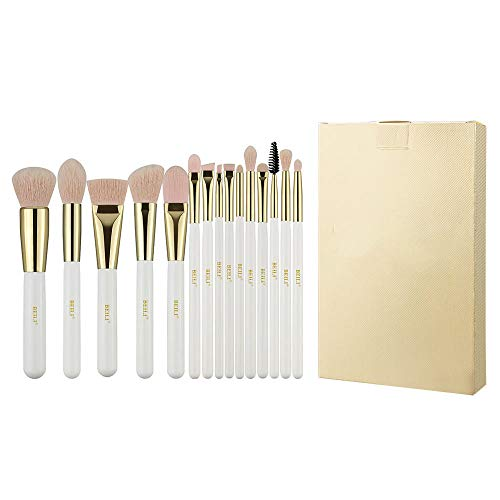 Brosse de maquillage professionnelle en or blanc nacré Ensemble de pinceaux de maquillage sans cruauté pour les cheveux en fibre de laine nano rose-blanc