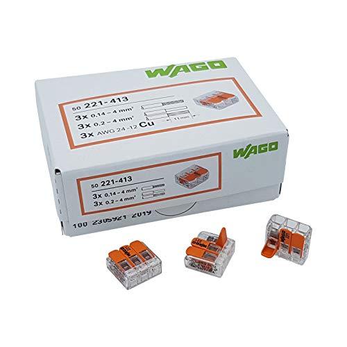WAGO Steckklemme 3-Fach mit Hebel für starre (0,2-4 mm²) und flexible (0,14-4 mm²) Drähte zum wieder öffnen transparent/orange Inhalt 50 Stück