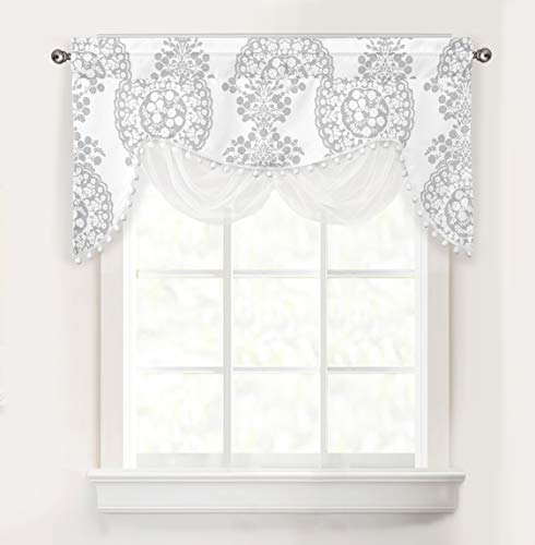 DriftAway Samantha Floral Damask Medallion Pattern Swag Valance Single Rod Pocket 52 Inch by 26 Inch Plus 2 Inch Header Gray